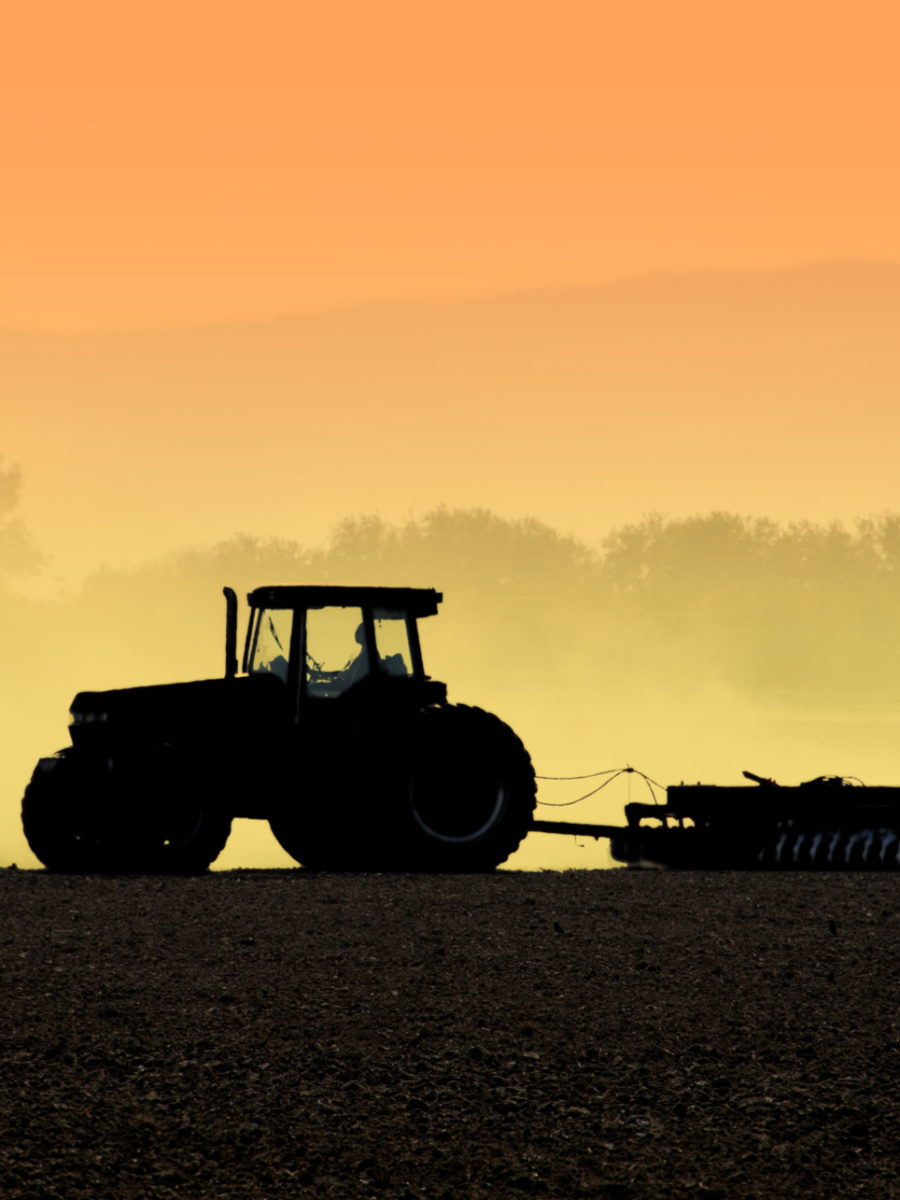 Tractor at dusk